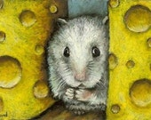 Dear God, please don't let them find me... - hamster on a cheese shelf - 5x7 print of an original painting by Tanya Bond