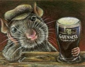 Paddy the rat drinking Guinness in a quiet pub - large fridge magnet - featuring print of a drawing by Tanya Bond
