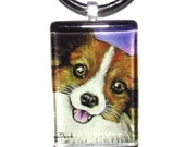 Papillon - butterfly dog - glass tile pendant Yorkshire terrier puppy portrait  wearable art necklace featuring print by Tanya Bond