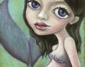 Pregnant mermaid - original oil pastel ACEO fantasy painting by Tanya Bond