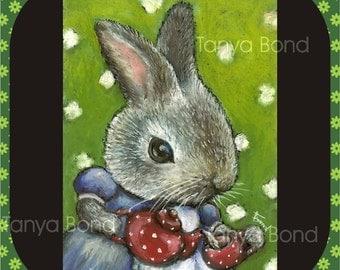 Mrs Rabbit making tea - 5x7 print of an original painting by Tanya Bond