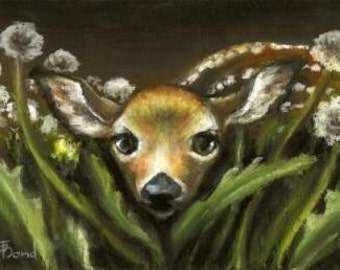 Peek-a-boo - gorgeous baby fawn hiding among dandelions - 5x7 PRINT of an original oil pastel painting by Tanya Bond