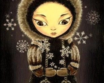 Eskimo girl - the snowflake fairy - 5x7 print of a painting by Tanya Bond