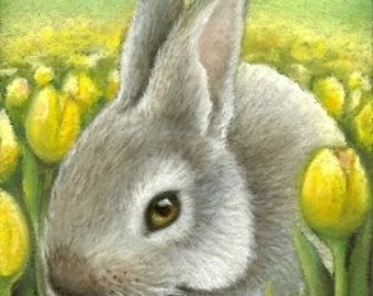 Spring bunny - 5x7 print of an original painting by Tanya Bond - would look fantastic in a nursery - great gift for rabbit lovers