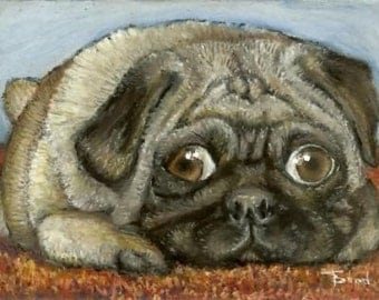 As snug as a pug on a rug - 5x7 print of an original painting by Tanya Bond