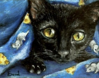 Of mice and cheese and woken kitty - 5x7 print of an original painting by Tanya Bond