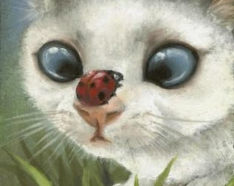 Counting the spots - kitten and ladybug - ladybird - 5x7 print of painting by Tanya Bond - great baby shower gift for nursery room