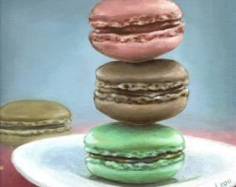 French macarons - original acrylic painting by Tanya Bond - gallery wrapped canvas