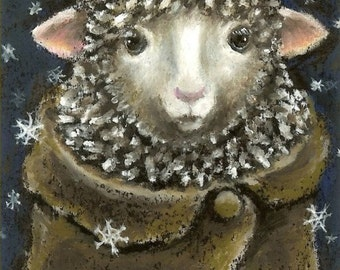 Gorgeous nanny in a mohair capelet - 5x7 print of an oil pastel painting by Tanya Bond