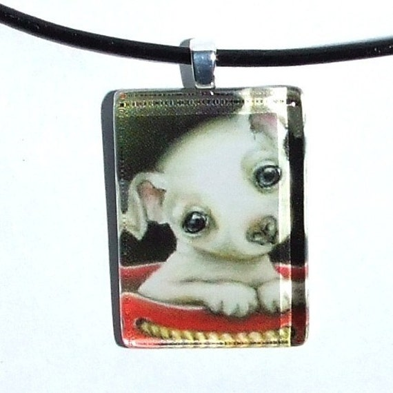 Little Chihuahua in a gift bag - glass tile pendant - wearable art necklace featuring print of painting by Tanya Bond