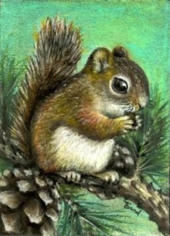 Squirrel and cones - 5x7 print of an original painting by Tanya Bond