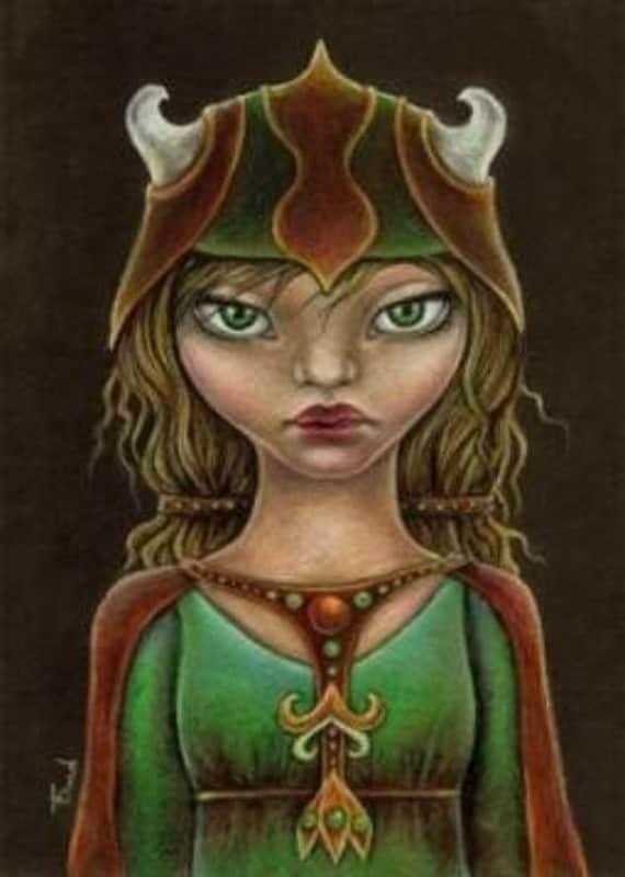 Viking princess - original drawing - fantasy illustration by Tanya Bond