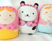 Cute plush matryoshkas dolls/pillows/plush/softies/decor ---grande size-- set (3)