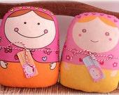 "friendly ""matryoshkas Dominika & Carminita"" -- (set of 2) -- matryoshka style doll/pillow/plush/softie/decor"