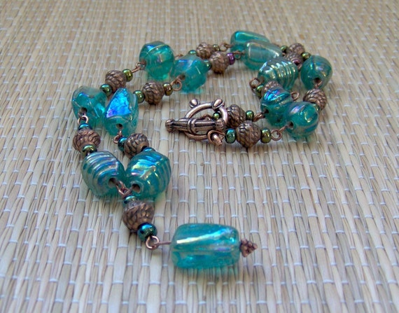 Green and Copper Necklace (N100027)