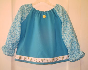 Size 3T Blue Peasant Top with Long Sleeves