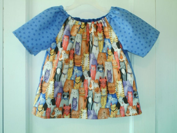 Colorful Kitties and Blue Polka Dots Peasant Top in Size 3T