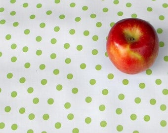 "Oilcloth: Lime Green Polka Dots - 35"" x 38"" remnant"