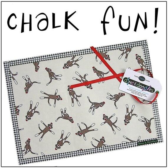 Chalk Mat / Chalkmat: Sock Monkeys - Dine.n.Doodle travel coloring placemat - laminated cotton & chalkcloth - Sale take 20% off