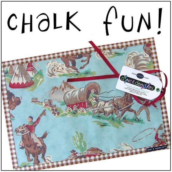 Chalk Mat / Chalkmat: Cowboys -n- Indians - coloring travel Dine.n.Doodle placemat - chalk cloth & laminated cotton - Sale take 20% off