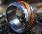 Titanium Wedding Band- Distressed Finish with Cocobolo Wood Inlay