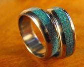 Titanium Wedding Band Set- Titanium and Turquoise Stone Inlay Rings