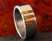 Titanium Ring with Dinosaur Bone Inlay - Wedding Ring - Mens Ring - Womens Ring - Dinosaur Bone Ring - Unique Ring - Handmade Ring