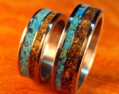 Titanium Rings- Handmade Wedding Band Set with Turquoise and Tigerseye Stone Inlays