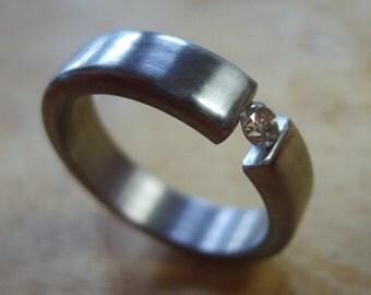 Titanium Ring, Diamond Ring, Champagne Diamond, Tension Set Ring, Wedding Ring, Mens Ring, Womens Ring, Engagement Ring, Engraved Ring