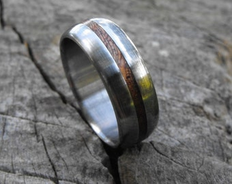 Titanium Ring, Wood Ring, Mahogany Ring, Wedding Ring, Wedding Band, Mens Ring, Womens Ring, Handmade Ring, Personalized Ring, Wooden Ring