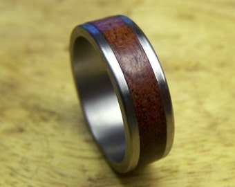 Titanium and Jarrah Inlay Ring