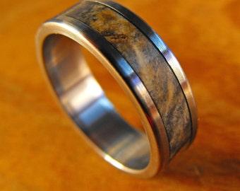 Titanium Ring, Wedding Ring, Wood Ring, Buckeye Burl Ring, Wood Inlay Ring, Mens Wedding Ring, Womens Ring, Promise Ring, Anniversay Ring
