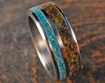 Titanium Ring, Turquoise Ring, Tigers Eye Ring, Wedding Ring, Mens Ring, Mens Wedding Ring, Womens Ring, Stone Ring, Unique Ring,