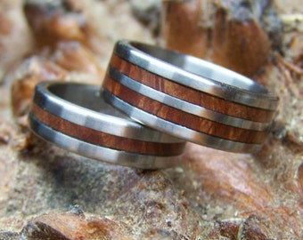 Titanium Rings, Wood Rings, Wedding Rings, Manzanita Ring, Mens Ring, Womens Ring, Handmade Ring, Mens Wedding Ring, Anniversary Rings