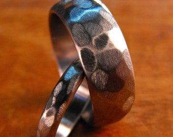 Titanium Rings, Wedding Rings, Handmade Rings, Distressed Rings, His and Hers Rings, Mens Ring, Womens Ring, Engraved Ring, Wedding Band Set