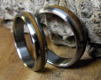 Titanium Rings, Wood Rings, Ancient Kauri Rings, Wedding Ring Set, Mens Ring, Womens Ring, Engagement Ring, Custom Made Ring, Wood Inlay