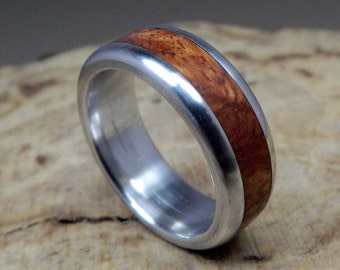 Wood Ring, Aluminum Ring, Wedding Ring, Wooden Ring, Wood Inlay Ring, Amboyna Burl Ring, Mens Ring, Personalized Ring, Womens Ring