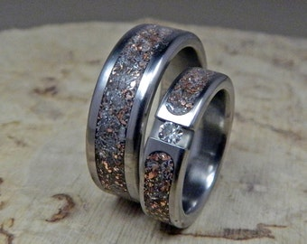 Wedding Rings, Titanium Rings, Wedding Band Set, His and Hers Rings, Handmade Rings, Mens Rings, Womens Rings, Moissanite Ring, Junk Rings