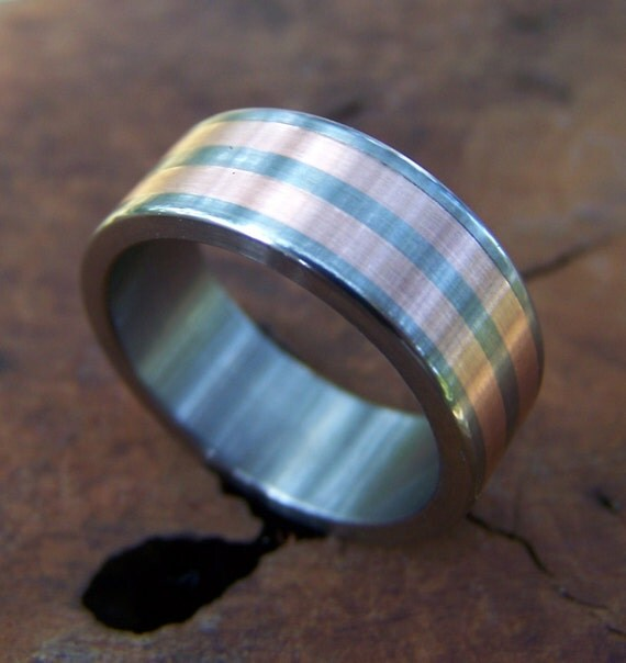 Titanium Ring, Copper Ring, Copper Inlay Ring, Wedding Ring, Mens Ring, Womens Ring, Anniversary Gift, Custom Made Ring, Unique Ring