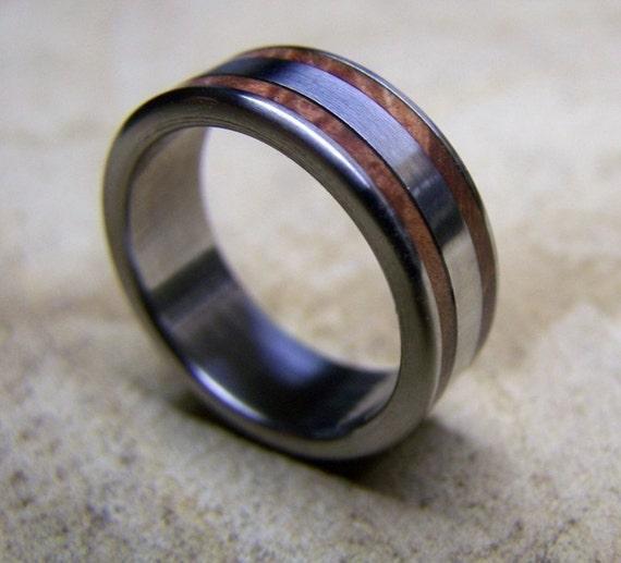 titanium ring wood ring wedding ring manzanita ring mens. Black Bedroom Furniture Sets. Home Design Ideas