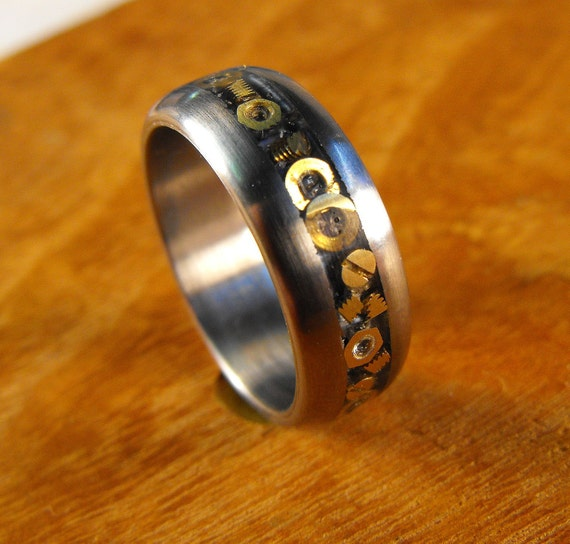 Titanium Wedding Ring with Inlaid Hardware- The Nuts and Bolts Ring