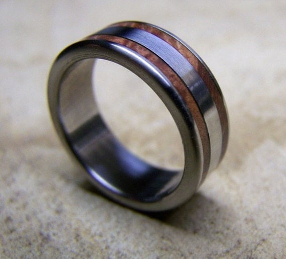Titanium and Manzanita Inlay Band