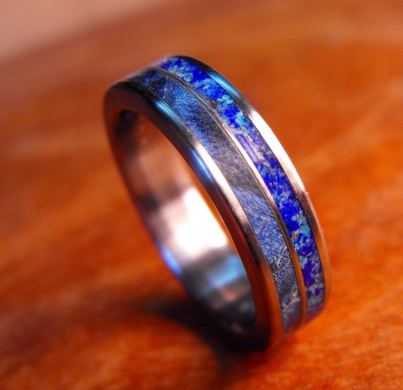 Titanium Wedding Ring Blue Wood And Stone Wood By Robandlean