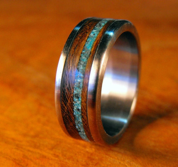Wedding Ring Titanium Ring Wood And Stone Ring By Robandlean