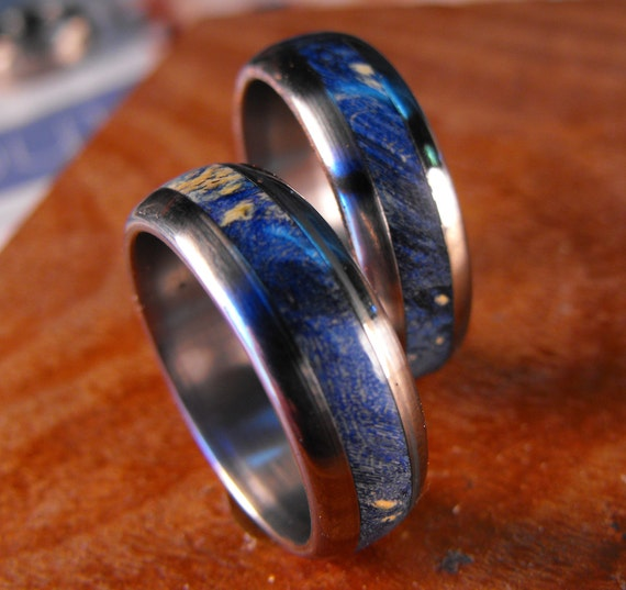 Wedding Rings, Titanium Wood Rings, Wood Ring, Blue Ring, Mens Wedding Ring, Wedding Band Set, His and Hers Set, Custom Made Ring, Unique