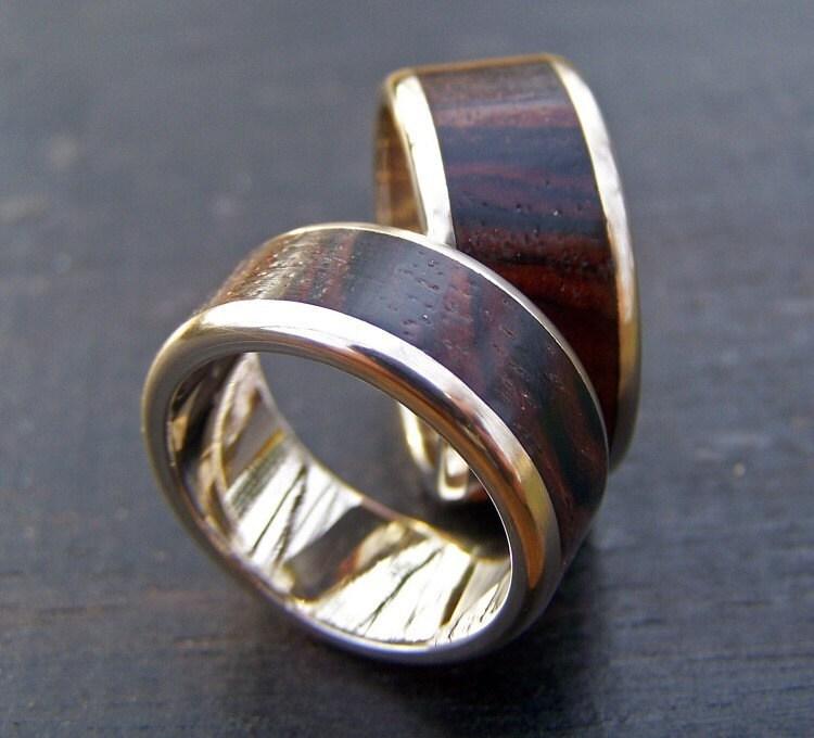 14k white gold and wood inlay ring matching custom set