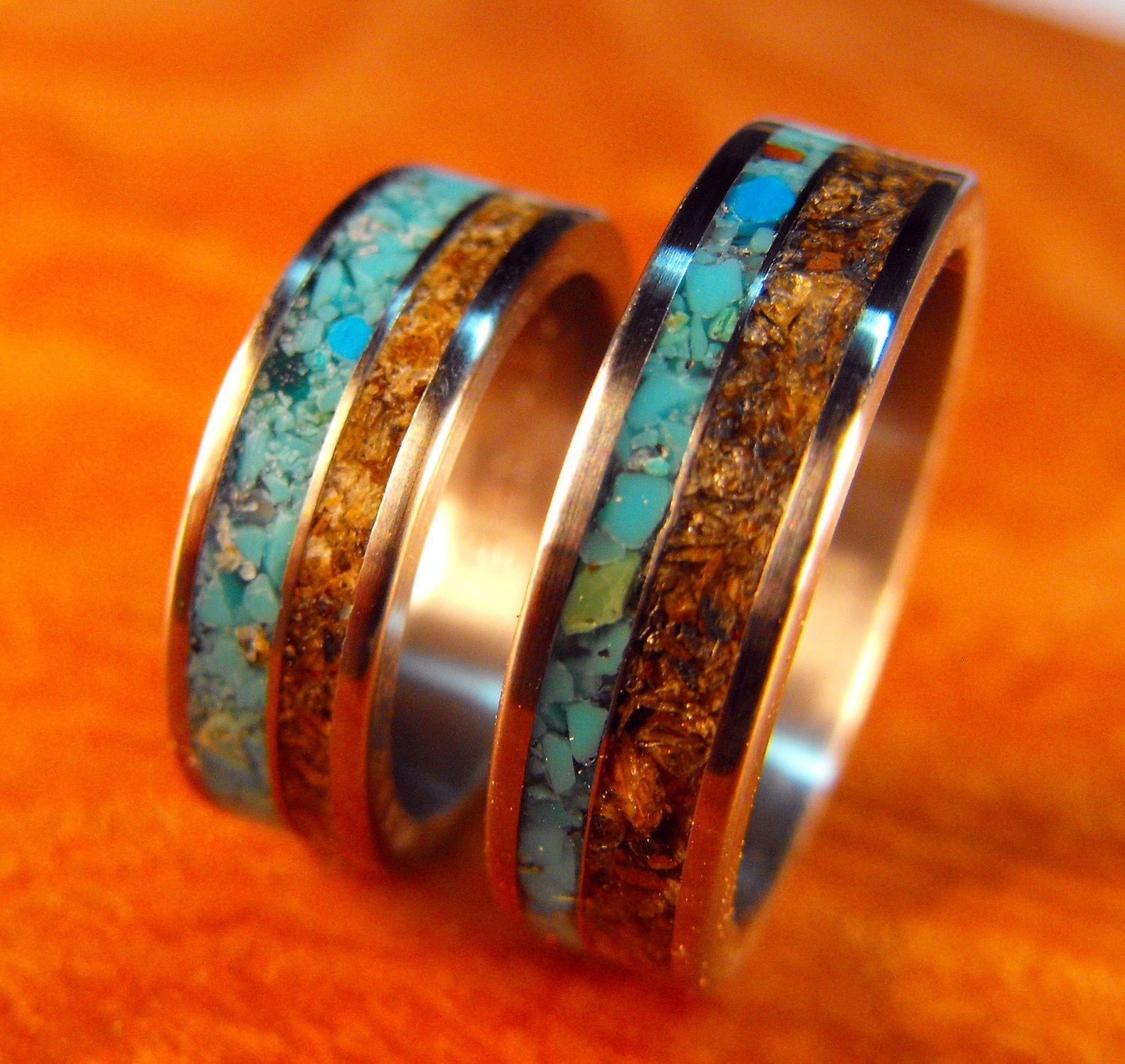 Titanium wedding band set turquoise and tigerseye by for Mens wedding rings with stones