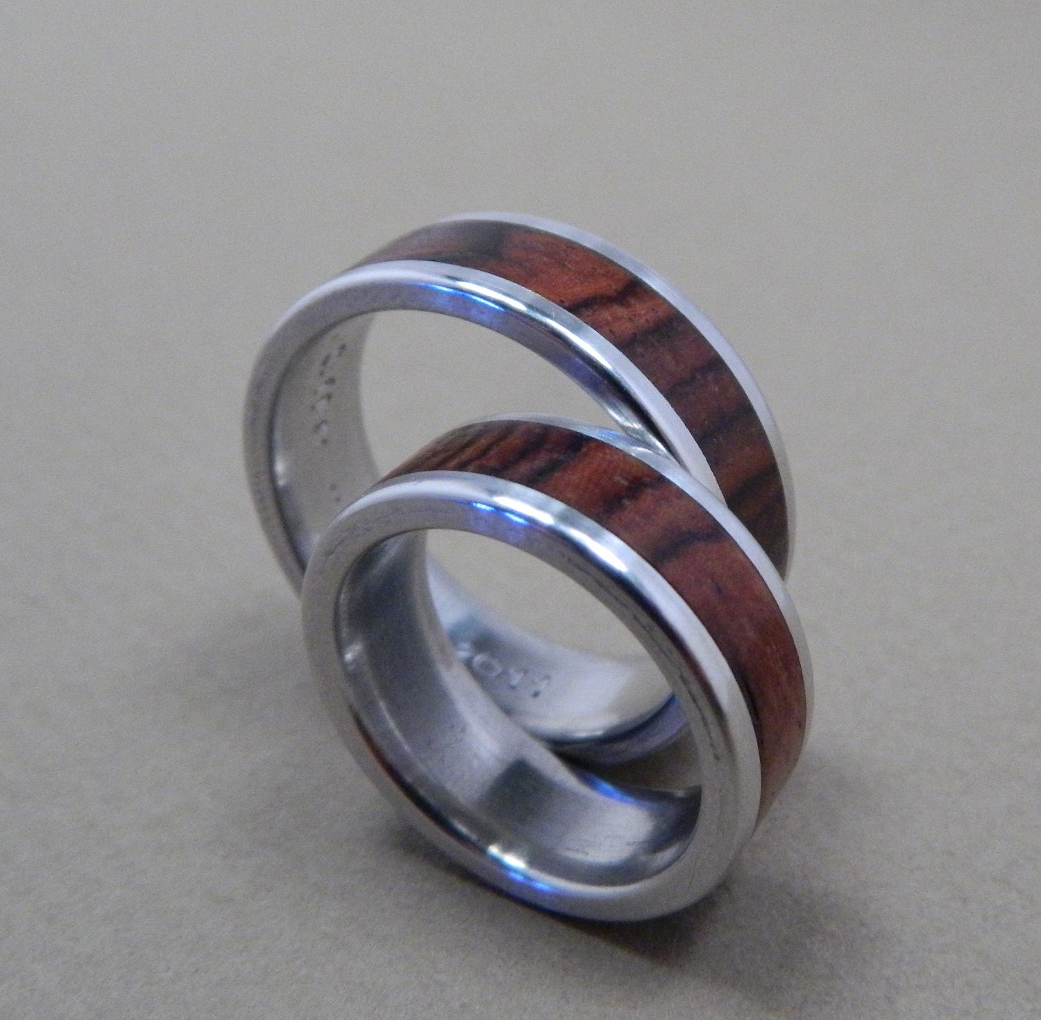 Wood Rings Cocobolo And Aluminum Wedding Band Set By