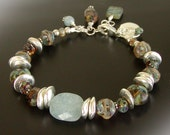 Rustic Aquamarine Bracelet - Czech Glass Jewelry, Sterling Silver