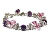 RESERVED - Tourmaline Bracelet, Amethyst and Sterling Silver